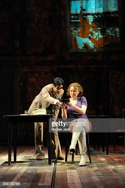 Sacha Dhawan as Mushi and Michelle Terry as Deborah in Richard Bean's play England People Very Nice directed by Nicholas Hytner at the National...