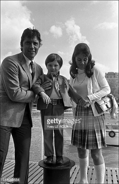 Sacha Distel and family in France on May 09, 1969-Sacha with wife Francine and son Julien.
