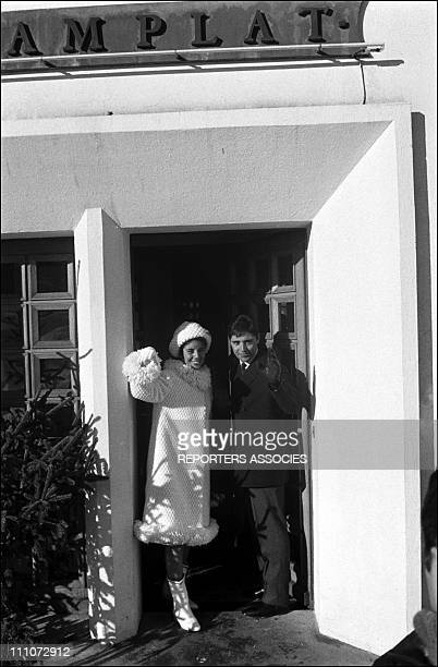 Sacha Distel and Francine Breaud at marriage in Switzerland on January 25 1963
