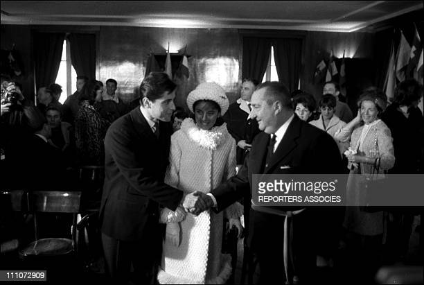 Sacha Distel and Francine Breaud during the wedding in Switzerland on January 25 1963