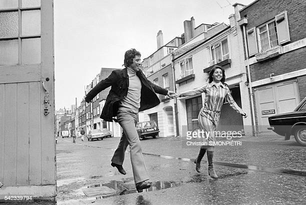 Sacha Distel and his wife Francine in London before Sacha's performance at the London Palladium
