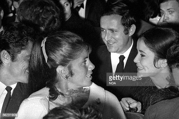 Sacha Distel Francine Breaud Michel Drach and MarieJose Nat in the theatre of the Olympia Paris 1967 HA107232