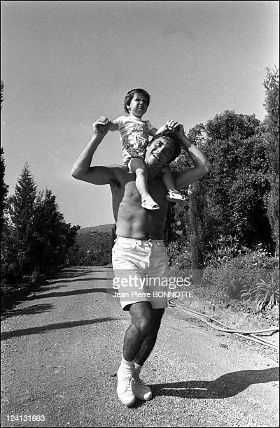 Sacha Distel on holiday In Saint Tropez France In June 1969 With Laurent