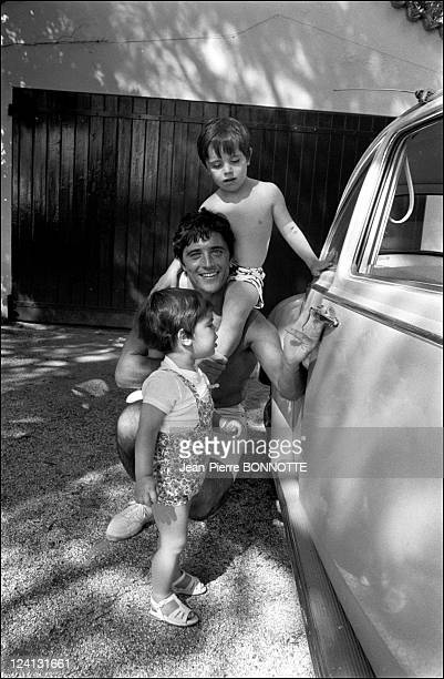 Sacha Distel on holiday In Saint Tropez, France In June, 1969 - With sons Julien and Laurent.