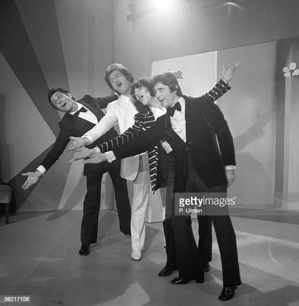 "Sacha Distel , singer and French actor, Julien Clerc, Joe Dassin et Gilbert Becaud. ""Sacha Show"". Paris, November 1970."