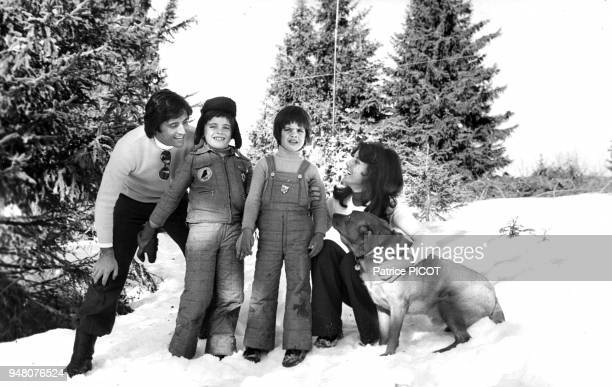 Sacha Distel wife Francine and sons Laurent and Julien