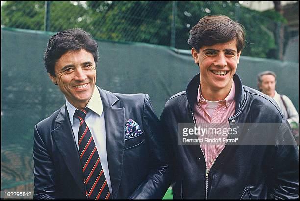 Sacha Distel with his son Julien at Roland Garos tennis tournament
