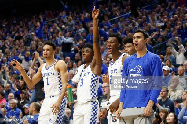 Sacha KilleyaJones Hamidou Diallo Jarred Vanderbilt and Tai Wynyard of the Kentucky Wildcats celebrate after a basket against the Mississippi State...