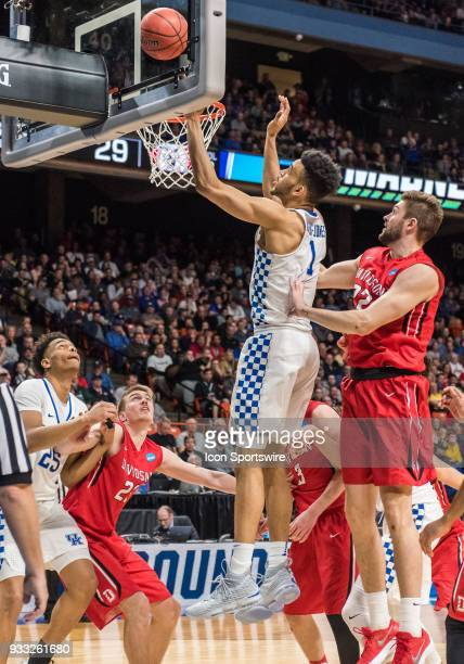 Sacha KilleyaJones of the Kentucky Wildcats puts up a lay up during the NCAA Division I Men's Championship First Round game between the Kentucky...