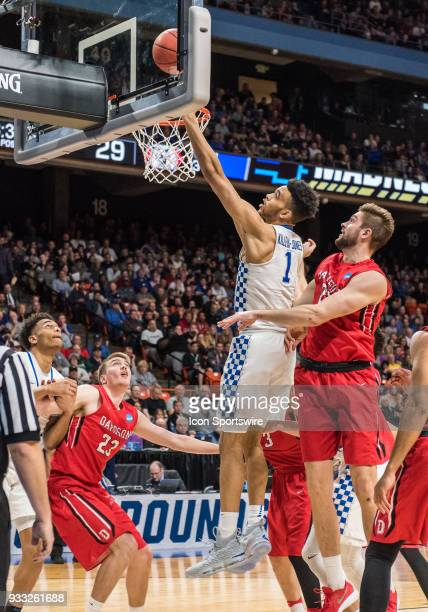Sacha KilleyaJones of the Kentucky Wildcats softly puts up a basket during the NCAA Division I Men's Championship First Round game between the...