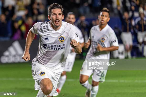 Sacha Kljestan of Los Angeles Galaxy celebrates after scoring a penalty kick during the game against Portland Timbers at the Dignity Health Sports...