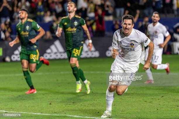 Sacha Kljestan of Los Angeles Galaxy celebrates after scoring a penalty during the game against Portland Timbers at the Dignity Health Sports Park on...