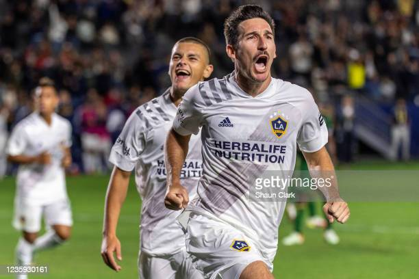 Sacha Kljestan of Los Angeles Galaxy scores a penalty kick during the game against Portland Timbers at the Dignity Health Sports Park on October 16,...