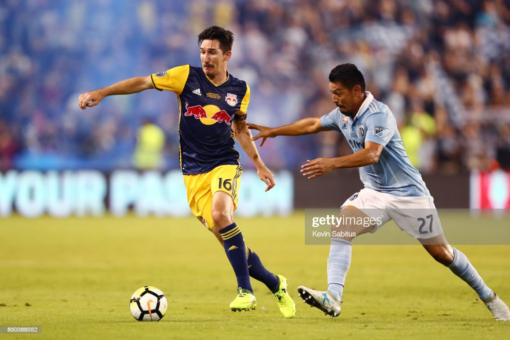 Sacha Kljestan #16 of New York Red Bulls controls the ball in the US Open Cup Final match against Sporting Kansas City at Children's Mercy Park on September 20, 2017 in Kansas City, Kansas.