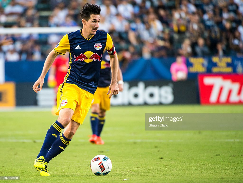 Sacha Kljestan #16 of New York Red Bulls during Los Angeles Galaxy's MLS match against the New York Red Bulls at the StubHub Center on August 7, 2016 in Carson, California. The match ended 2-2
