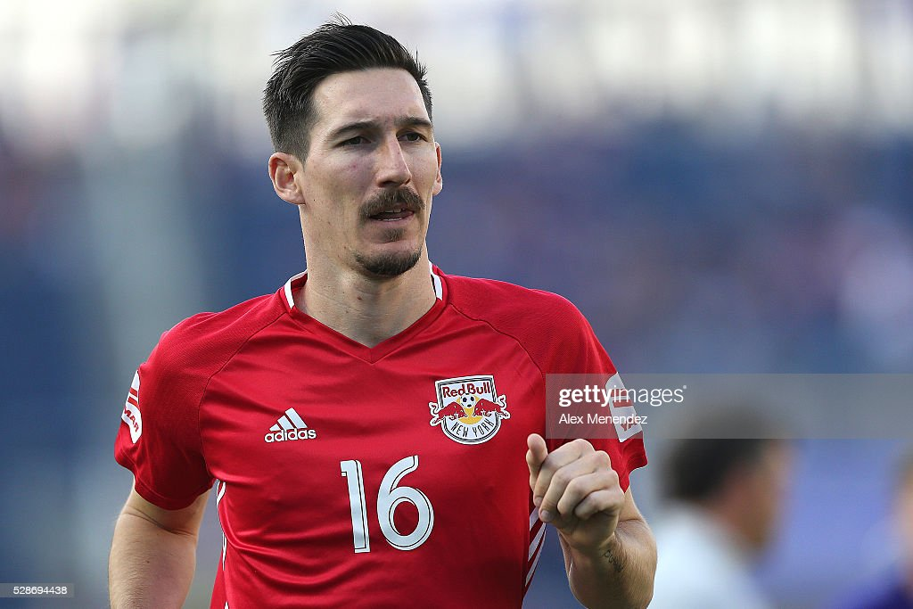 Sacha Kljestan #16 of New York Red Bulls is seen during an MLS soccer match against the Orlando City SC at Camping World Stadium on May 6, 2016 in Orlando, Florida. The game ended in a 1-1 draw.