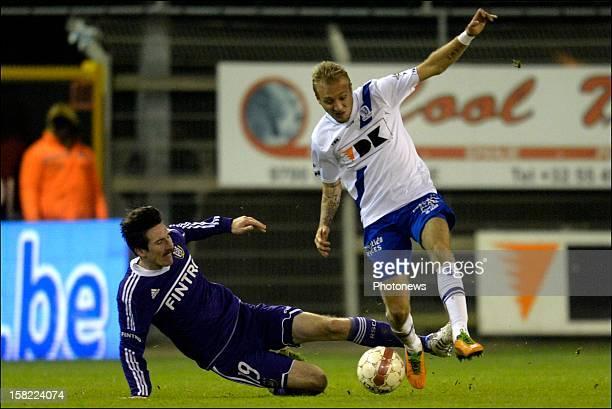 Sacha Kljestan of RSC Anderlecht battles for the ball with Jordan Remacle of KAA Gent during the Belgian Cofidis Cup match between Kaa Gent and Rsc...