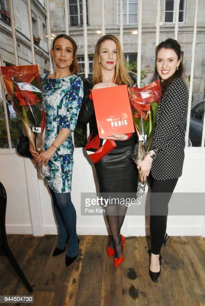 Sacha Lucas Judith Beller and Deborah D'Aietti from the Bel RP attend the 'Bel RP' 10th Anniversary at Atelier Sevigne on April 10 2018 in Paris...