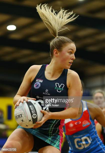 Sacha McDonald of the Fury in action during the Australian Netball League third place playoff between the NSW Waratahs and Victoria Fury at the ACT...