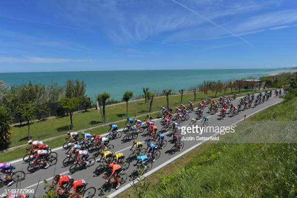 L'AQUILA ITALY MAY 17 Sacha Modolo of Italy and Team EF Education First / Mark Renshaw of Australia and Team Dimension Data / Pello Bilbao of Spain...