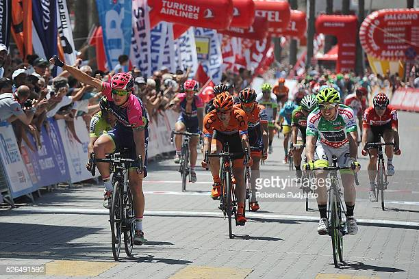 Sacha Modolo of Lampre-Merida reacts after winning Stage 7 of the 2016 Tour of Turkey, Fethiye to Marmaris on April 30, 2016 in Fethiye, Turkey.