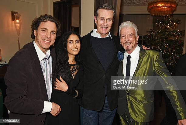 Sacha Newley Sheela Raman Rupert Everett and Nicky Haslam attend Nicky Haslam's performance at Gigi's on November 12 2015 in London England