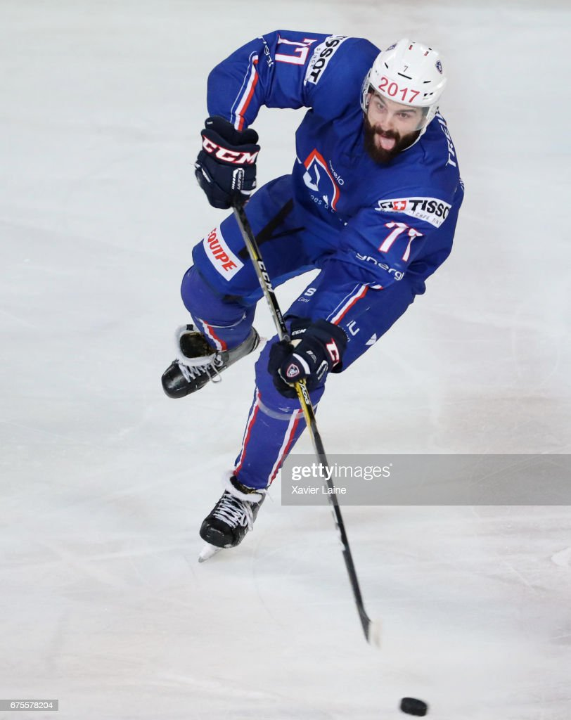 Sacha Treille #77 of France in action during the Ice Hockey Friendly match between France and Belarus at Patinoire Meriadeck on May 1, 2017 in Bordeaux, France.
