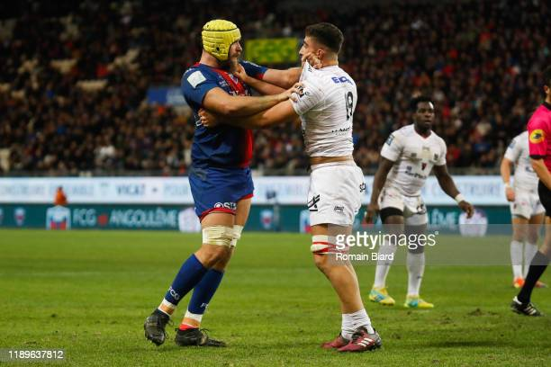 Sacha ZEGUEUR of Oyonnax and Mickael CAPELLI of Grenoble during the Pro D2 match between Grenoble and Oyonnax at Stade des Alpes on December 19, 2019...