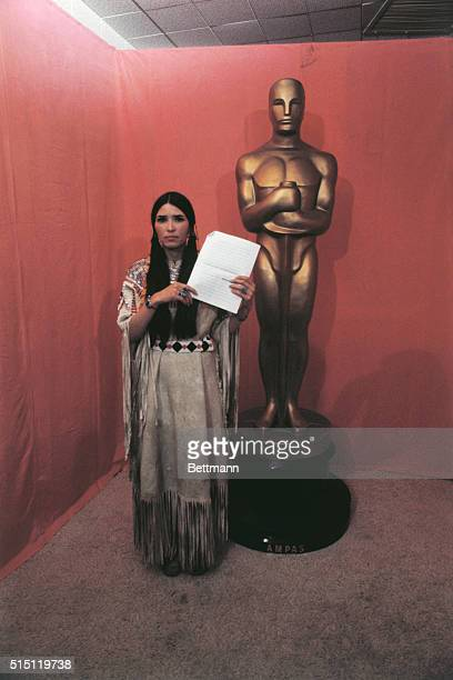 Sacheen Littlefeather, a model and actress who is part Apace, appeared at the Academy Awards in place of Oscar winner Marlon Brando because Brando...
