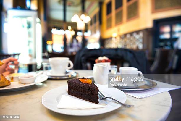Sachertorte (chocolate cake) in Central Cafe, Budapest, Hungary