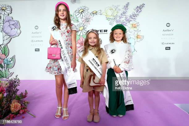 Sachi Norton runner up Charlotte Suttor 1st place and Maya Goddon 2nd runner up in the Junior Girls runway at the Park during 2019 Stakes Day at...