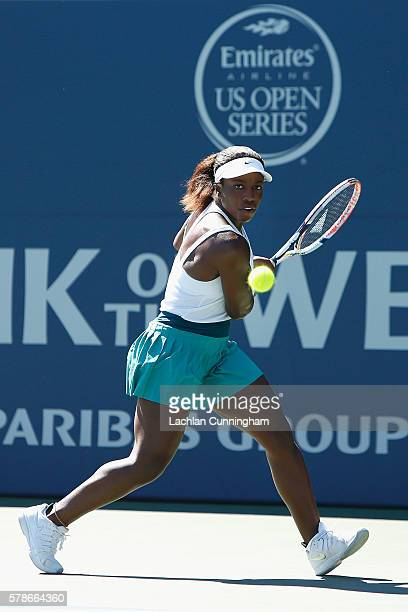 Sachia Vickery of the United States competes against Catherine Bellis of the United States during day four of the Bank of the West Classic at the...
