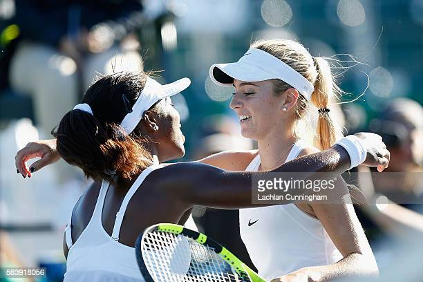 Sachia Vickery of the United States congratulates Catherine Bellis of the United States after her win over Vickery during day four of the Bank of the...
