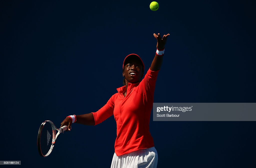 Sachia Vickery of the United States serves in her match against Kristyna Pliskova of the Czech Republic during the third round of 2016 Australian Open Qualifying at Melbourne Park on January 16, 2016 in Melbourne, Australia.