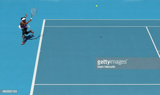 Sachia Vickery of the USA plays a forehand in her qualifying singles match against Danka Kovinic of Montenegro during the Moorilla Hobart...