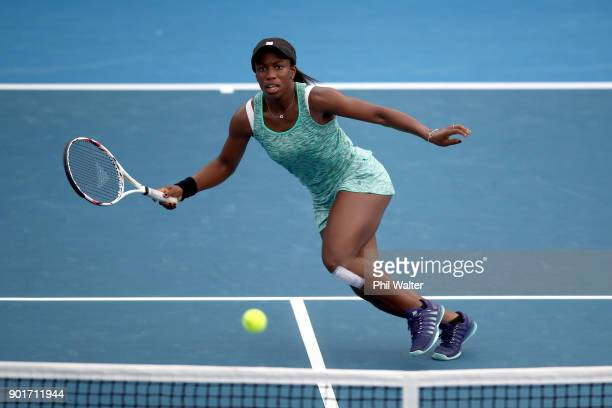 Sachia Vickery of the USA plays a forehand in her semifinal match against Caroline Wozniacki of Denmark during day six of the ASB Women's Classic at...