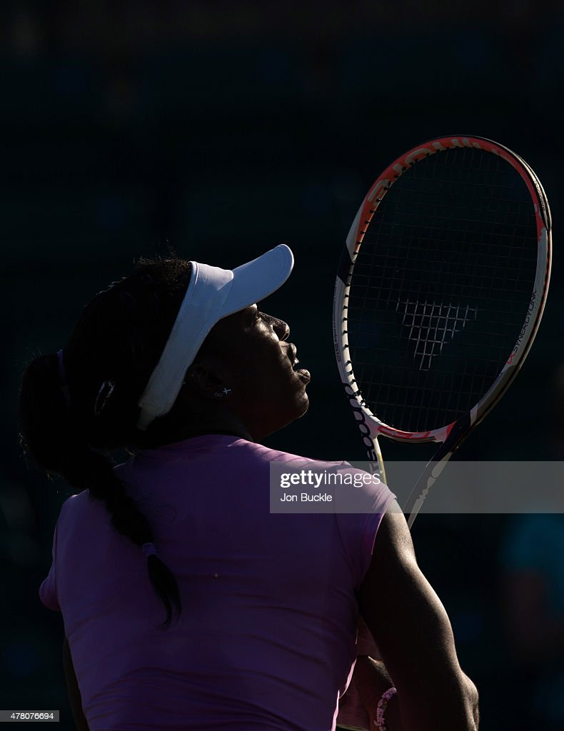 Sachia Vickery of USA during her match against Zarina Diyas of Kazakhstan on day four of the WTA Aegon Open Nottingham at Nottingham Tennis Centre on June 11, 2015 in Nottingham, England.