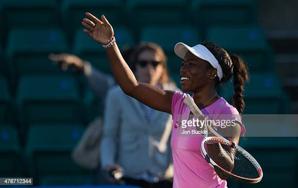 Sachia Vickery of USA looks relieved after match point during her match against Zarina Diyas of Kazakhstan on day four of the WTA Aegon Open...