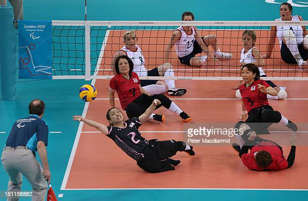 Sachie Awano of Japan reaches for the ball during the Women's Sitting Volleyball Preliminary Round Pool A match against Great Britain on day 4 of the...