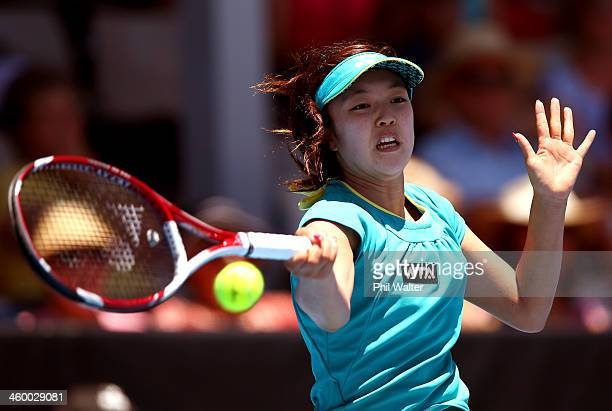 Sachie Ishizu of Japan plays a forehand during her quarterfinal match against Kirsten Flipkens of Belgium during day four of the ASB Classic at ASB...