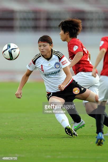 Sachie Takahashi of Yunogo Belle in action during the Nadeshiko League match between Urawa Red Diamonds Ladies and Okayama Yunogo Belle at Komaba...