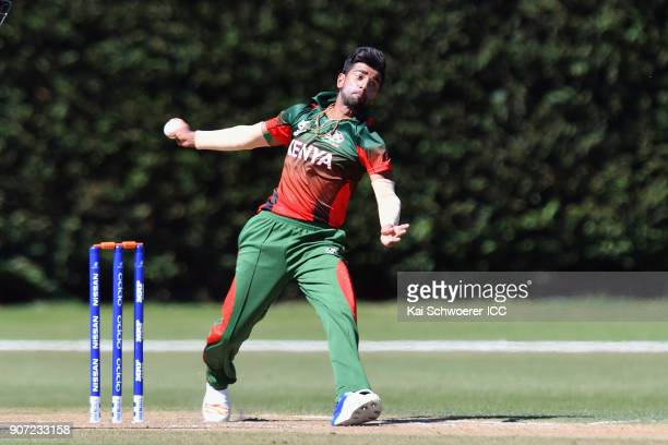 Sachin Bhudia of Kenya bowls during the ICC U19 Cricket World Cup match between the West Indies and Kenya at Lincoln Oval on January 20 2018 in...