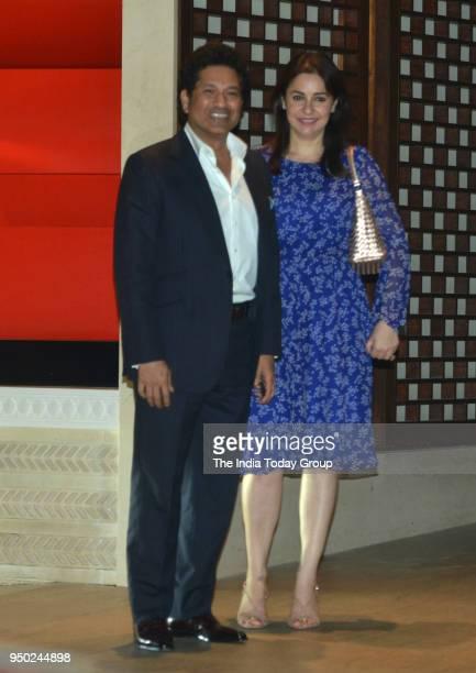 Sachin Tendulkar and Anjali Tendulkar during the dinner party hosted by Nita Ambani for Thomas Bach President of International Olympic Committee in...