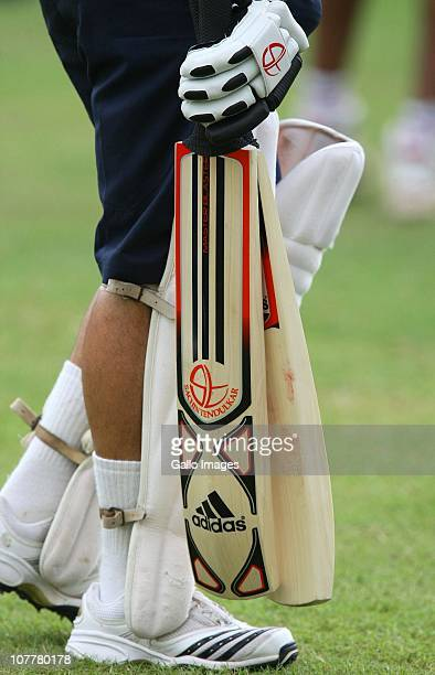 Sachin Tendulkar and his personalised bats practices during the India training session at Sahara Stadium Kingsmead on December 25 2010 in Durban...