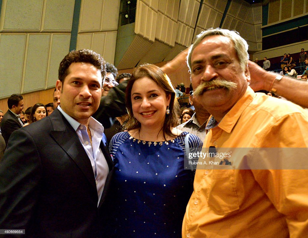 Sachin Tendulkar and wife Anjali with Piyush Pandey at the book launch of Pandeymonium at the Jamshed Bhabha Theatre on October 14, 2015 in Mumbai, India.