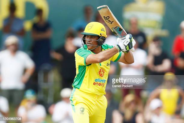 Sachin Tendulkar bats during the Bushfire Cricket Bash T20 match between the Ponting XI and the Gilchrist XI at Junction Oval on February 09, 2020 in...