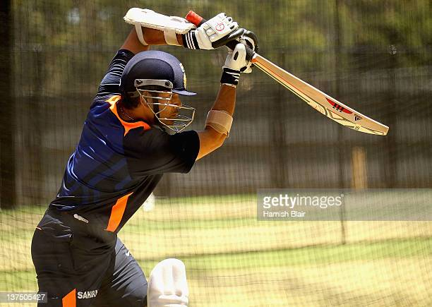 Sachin Tendulkar bats in the nets during an Indian nets session at Adelaide Oval on January 22 2012 in Adelaide Australia