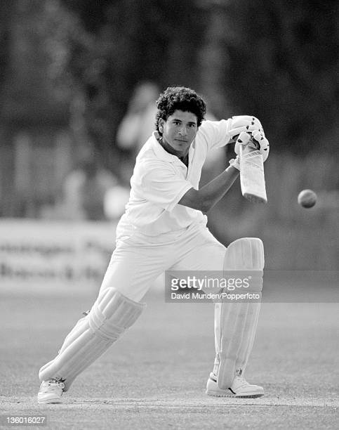 Sachin Tendulkar batting for India against the Minor Counties XI at Trowbridge 12th July 1990 The match ended in a draw