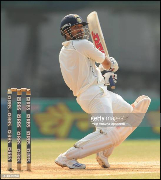 Sachin Tendulkar batting for India during his innings of 103 not out in the 1st Test match between India and England at MA Chidambaram Stadium...