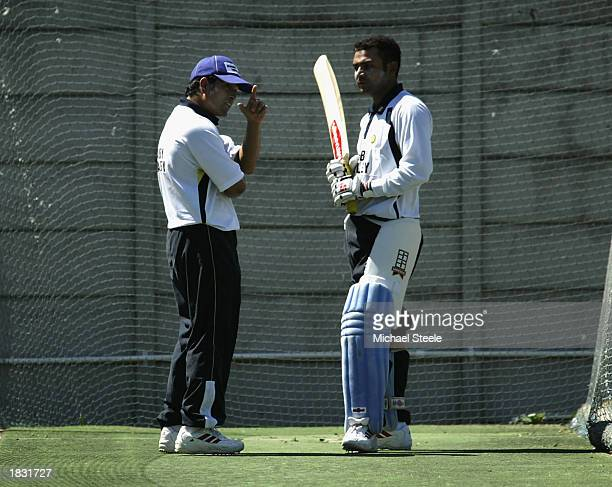 Sachin Tendulkar chats with Virender Sehwag of India during net practice ahead of the ICC Cricket World Cup Super Six game between Kenya and India at...